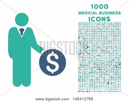 Banker vector bicolor icon with 1000 medical business icons. Set style is flat pictograms cobalt and cyan colors white background.