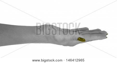 Open hand showing anything adult woman's skin yellow manicure. Isolated on white background.
