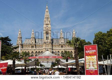 Vienna / Austria - July 20th 2014: frontal view of Vienna City Hall towers during 2014-th film festival
