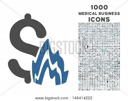 Fire Disaster vector bicolor icon with 1000 medical business icons. Set style is flat pictograms, cobalt and gray colors, white background.