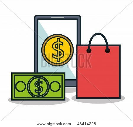electronic commerce flat line icons vector illustration design