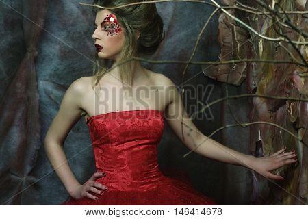 Fashion portrait of romantic beautiful girl