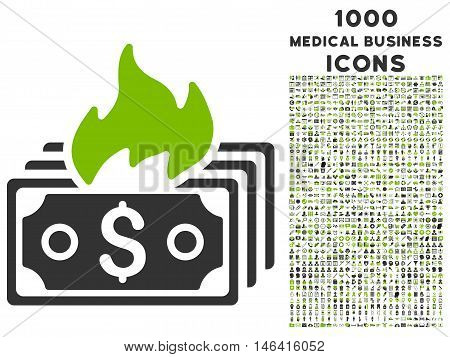 Burn Banknotes glyph bicolor icon with 1000 medical business icons. Set style is flat pictograms eco green and gray colors white background.
