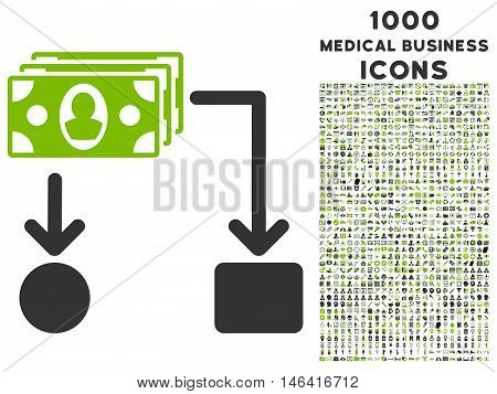 Cashflow glyph bicolor icon with 1000 medical business icons. Set style is flat pictograms, eco green and gray colors, white background.