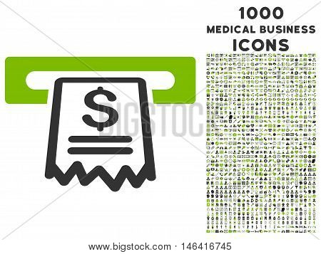 Cashier Receipt glyph bicolor icon with 1000 medical business icons. Set style is flat pictograms, eco green and gray colors, white background.