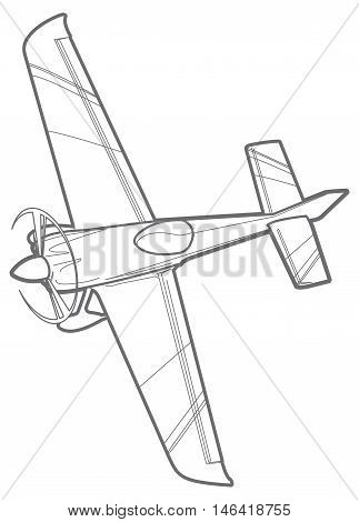Vector outline sport plane with propeller. small airplane