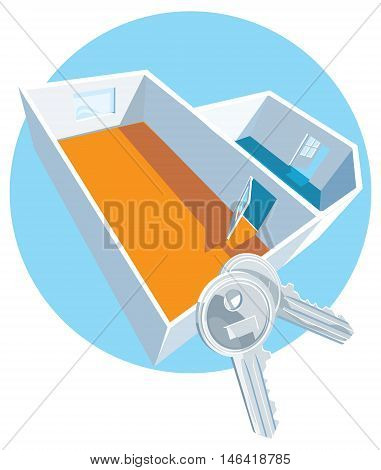 Vector House keys with apartment 3D view
