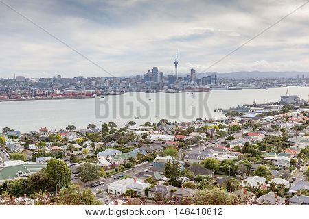 The view point of Auckland's Skyline from Mount Victoria reserve Devonport Auckland New Zealand.
