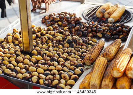 Roasted Chestnuts And Corn For Sale In A Market Stall, Istanbul,