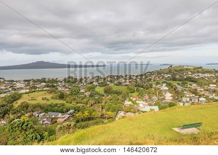 The scenic view Rangitoto Island from Victoria hill Auckland New Zealand.