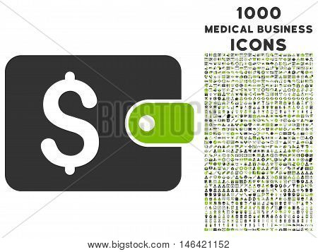 Purse glyph bicolor icon with 1000 medical business icons. Set style is flat pictograms eco green and gray colors white background.