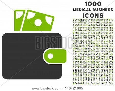 Wallet glyph bicolor icon with 1000 medical business icons. Set style is flat pictograms eco green and gray colors white background.