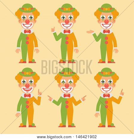 Vector Illustration, Clown Shows and Indicates, Format EPS 8