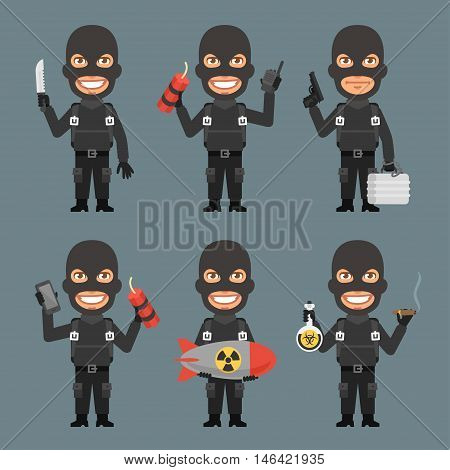 Vector Illustration, Robber Holds Weapons Suitcase Bomb, Format EPS 8