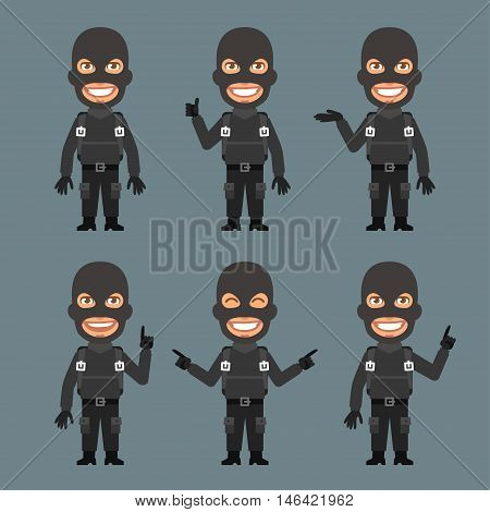 Vector Illustration, Robber Shows and Indicates, Format EPS 8