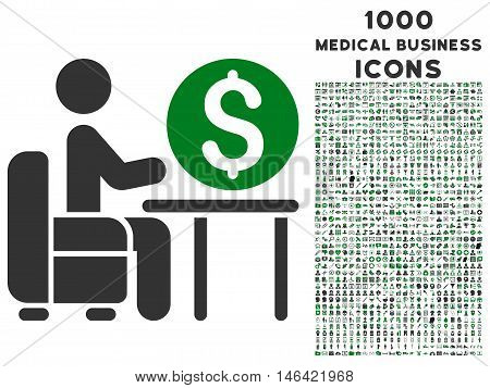Banker Office glyph bicolor icon with 1000 medical business icons. Set style is flat pictograms green and gray colors white background.