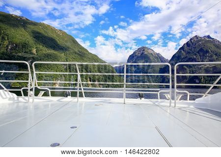 Front View Of A Boat, Beautiful Landscape. Te Anau, New Zealand