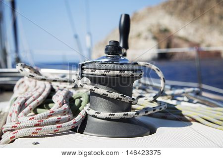 Closeup detail of the rope on sailboat