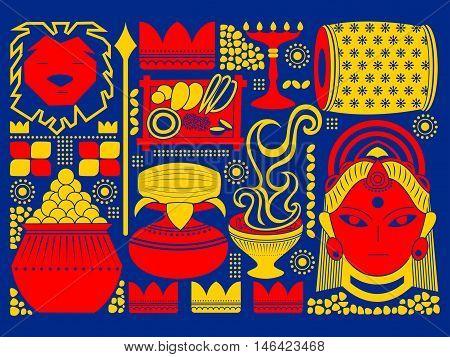 vector illustration of Happy Durga Puja festival background kitsch art India