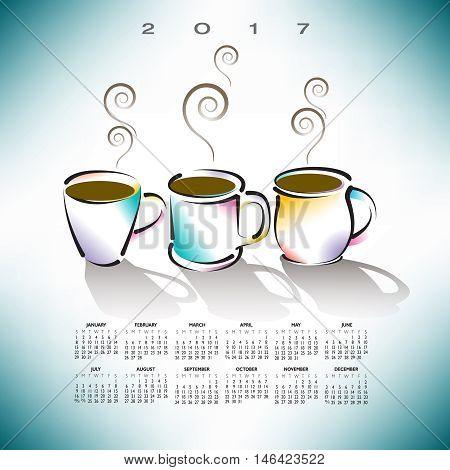 2017 creative coffee shop calendar for print or web