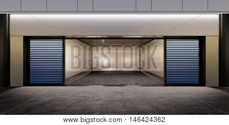 modern empty parking on street of city at night time. 3D illustration