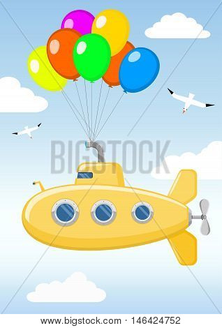 Funny yellow submarine on the balloons flying in the sky among the clouds and birds. Children's toy. Vector graphics