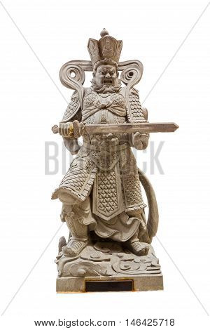 Chinese warrior with sword isolated on white background