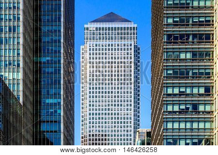 Office buildings in Canary Wharf financial district of London