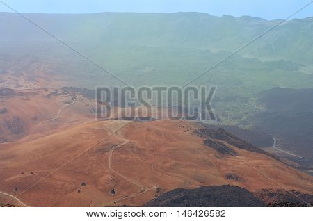 Volcanic landscape in the national park of Teide, Tenerife, Canary islands, Spain
