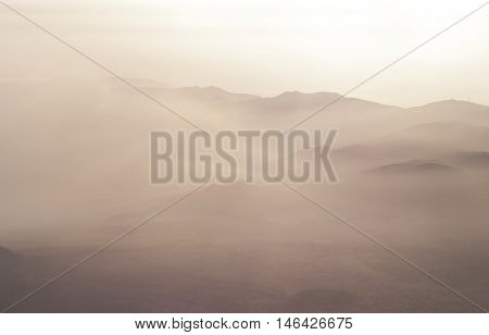 Mystic landscape with silhouette of mountains. national park of Teide, Tenerife, Canary islands, Spain