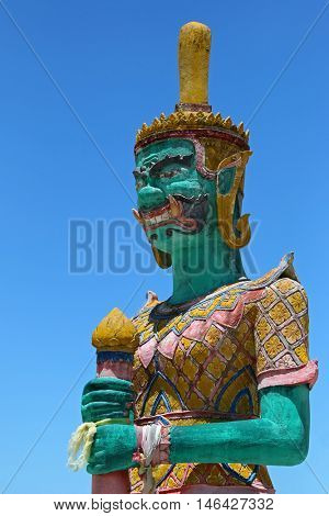 SURAT THANI, THAILAND - MAY 2015 : Closeup of green Giant statue at Golden Laem Sor Pagoda, in Ban Lamai, Ko Samui District, Surat Thani province in Thailand on May 28, 2015.