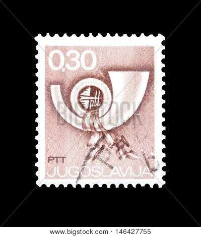 YUGOSLAVIA - CIRCA 1973 : Cancelled postage stamp printed by Yugoslavia, that shows Postal horn.