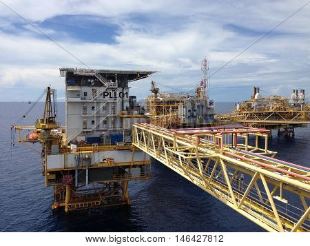 Nakhon Si Thammarat, Thailand, October 25, 2014: The Platong II gas development is a natural gas expansion project of the existing Platong complex in the Gulf of Thailand.