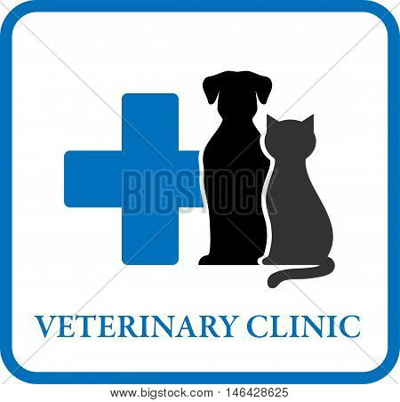 veterinary clinic sign with blue cross and pet silhouette in frame