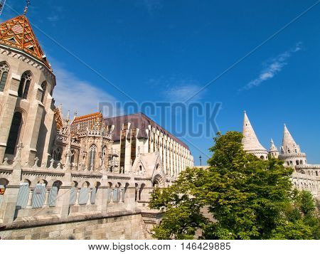 Fisherman Bastion in Budapest Hungary. Horizontal shot