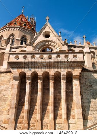 Fisherman Bastion in Budapest Hungary. Close up vertical shot