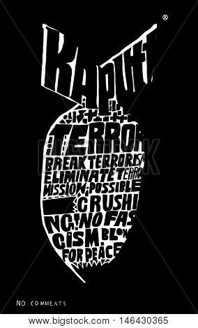 The symbolic image of a bomb which consists of the words. Translated from the German Kaputt - broken