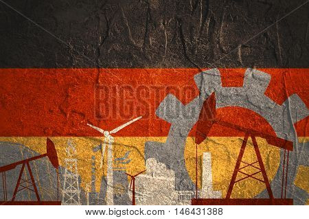 Energy and Power icons set with Germany flag. Sustainable energy generation and heavy industry.