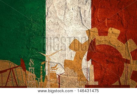 Energy and Power icons set with Italy flag. Sustainable energy generation and heavy industry.