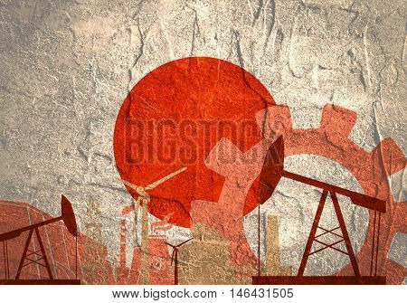 Energy and Power icons set with Japan flag. Sustainable energy generation and heavy industry.