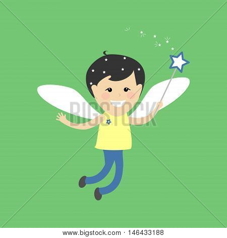 Angel fairy boy . Flying fairy with a magic wand on a green background