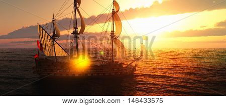 Abandoned historic sailing ship in the stormy sea 3d rendering