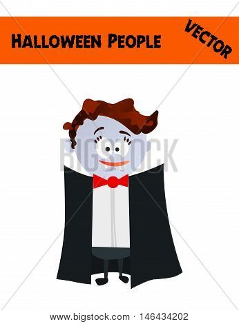 Isolated Festive Orange October Vector Halloween People Illustration with a Kid Wearing Halloween Vampire Costume: Black Coat, Vampire Teeth, Red Bow, Blue Skin and Scars
