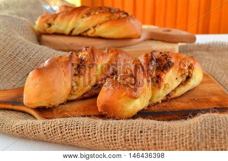 Sweet buns with walnuts, home baking. Sweet home pastries