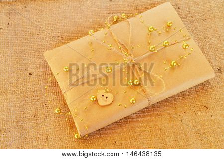 Gift box. Gift box handicraft wrapping, parchment twine, cute simple