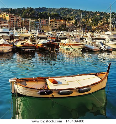 Santa Margherita port, with colorful boats in harbor