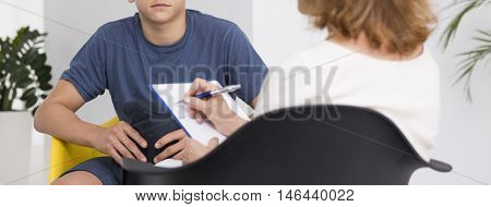 Teenager During The Psychotherapy Session
