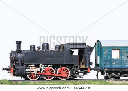 Old train isolated on white