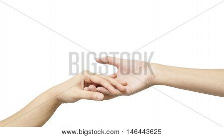 Closeup woman hand hold another woman hand for console and encourage in tender emotion isolated on white background with clipping path