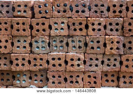 Red brick background close up, brick, stone, gravel
